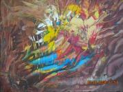 tableau abstrait automne fauve marron unique : L'HYDRE