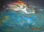 tableau abstrait beau rare grandes dimensions exceptionnel : L'AME DE LA LICORNE