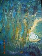 tableau abstrait vert tons sous l eau marine creatif : FUSION MARINE