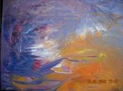 tableau abstrait orange gers original unique : DRAKKAR