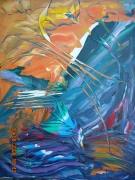 tableau abstrait oiseau multicolore orange creatif : L'OISEAU IGNICOLORE