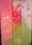 tableau fleurs japonisant decoratif unique nouveau : triptyque