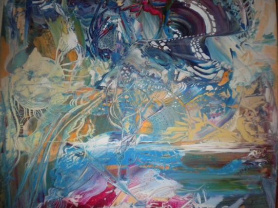 TABLEAU PEINTURE multicolores abstrait unique beau Abstrait Acrylique  - Eclipse Lunaire