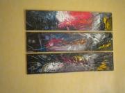 tableau abstrait tryptique rare couleurs chaudes exotiques : SALICORNE