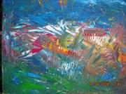 tableau abstrait campagne champ de fleurs couleurs chaudes atypique : PLUMETIS