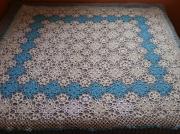 art textile mode fleurs nappe au crochet plaid au crochet : nappe  géante au crochet