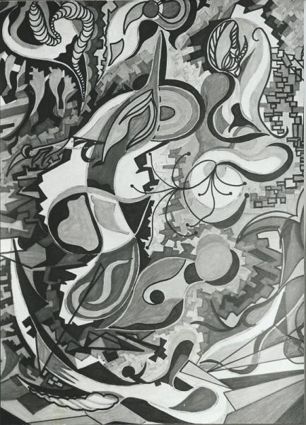 TABLEAU PEINTURE Abstrait Peinture a l'huile  - mouvement n�