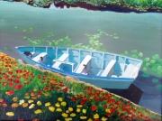 tableau paysages barque lac : Barque