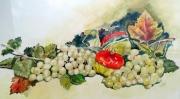 tableau fruits raisins : Raisins blancs et kakis