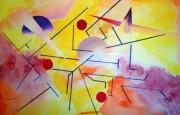 tableau abstrait labyrinthe geometrie couleurs : Labyrinthe multicolor