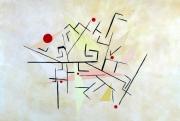 tableau abstrait labyrinthe geometrie beige : Labyrinthe beige