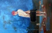 tableau personnages fille chat valise sang : Fille rousse à la valise