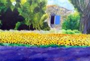 tableau fleurs provence paysage lavande tournesols : Lavande et tournesols