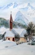 tableau architecture haute savoie samoens hiver neige : Samoens