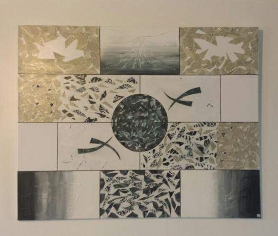 TABLEAU PEINTURE Abstrait Collage  - géométrie