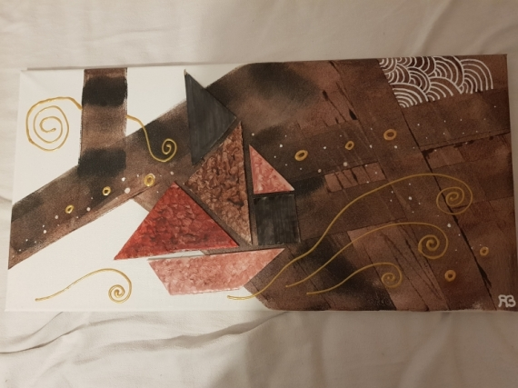 TABLEAU PEINTURE Collage  - bateau