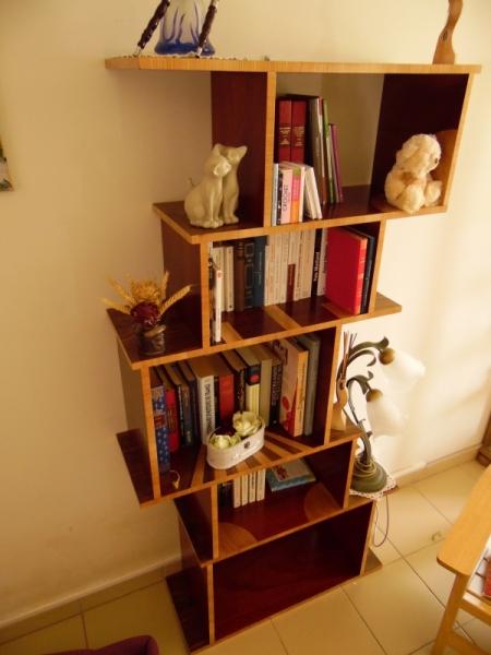 BOIS, MARQUETERIE bois marqueterie bibliothèque rouge  - Bibliothèque