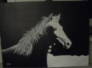 tableau animaux bichromie cheval criniere buste : Chevacrylique