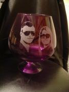 ceramique verre personnages gravure verre vase cadeau : Anny