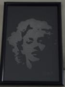 ceramique verre personnages gravure verre bichromie pinup : Marilyn-2