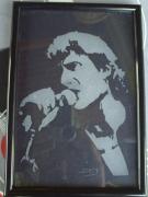 ceramique verre personnages johnny idole chanteur bichromie : Johnny