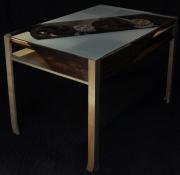 bois marqueterie bureau engrenage travail table : Bureau à engrenages