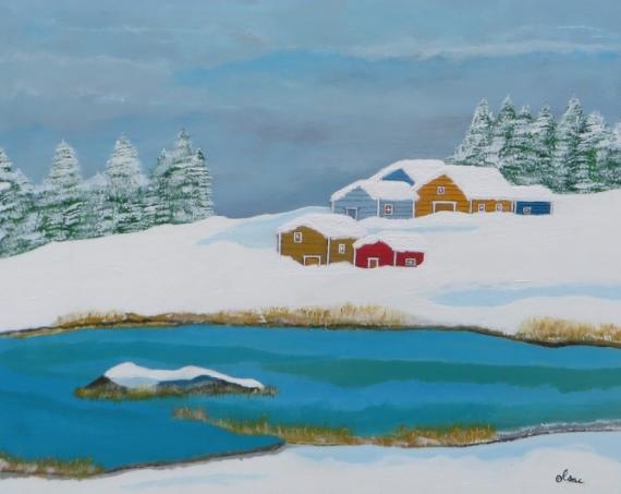 TABLEAU PEINTURE Paysages Acrylique  - paysage nordique