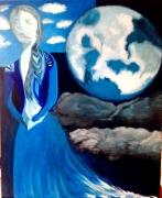 tableau paysages fuite femme planete surrealisme : Escape