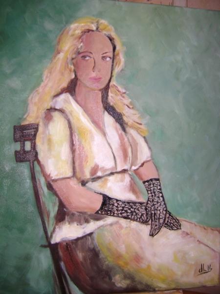 TABLEAU PEINTURE Personnages Peinture a l'huile  - FEMME ASSISE ROMANTIQUE