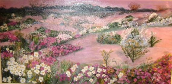 TABLEAU PEINTURE Peinture a l'huile  - Printemps californieni