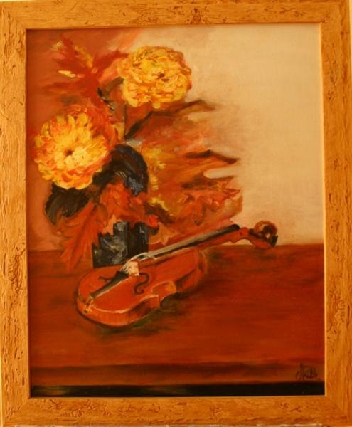 TABLEAU PEINTURE Peinture a l'huile  - violon et fleurs