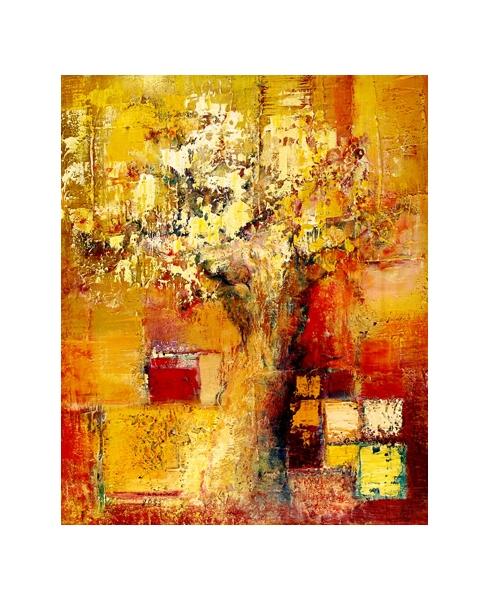 TABLEAU PEINTURE Arbre semi-abstrait énergies Terre Peinture a l'huile  - Juin II