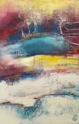 tableau paysages crepuscule arbres lac terre : Crépuscule I