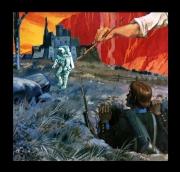 autres scene de genre soldat cosmonaute pinceau village : vision