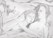 dessin paysages nature psyche agonie eternite : lié à jamais