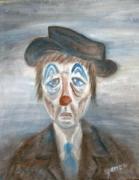 tableau personnages clown tristesse sentiment bleu : Tristesse