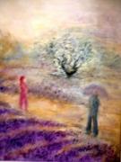 tableau paysages lavandes ciel arbre couple : Arc en ciel sur les lavandes