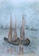 tableau autres lagune bleu reve bateaux : Seuls sur la lagune