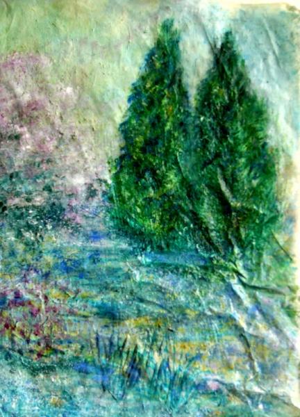 TABLEAU PEINTURE arbres printemps nature printemps Peinture a l'huile  - Ils veillent le printemps