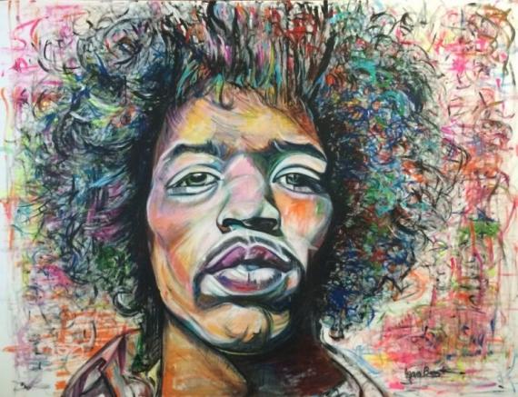 PAINTING Jimi Hendrix visage couleur americain Acrylique  - Jimi Hendrix