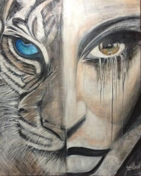 TABLEAU PEINTURE visage tigre yeux regard Acrylique  - FELINE