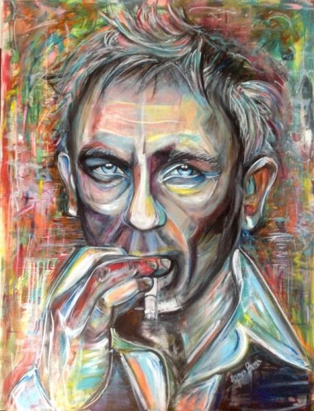 TABLEAU PEINTURE Daniel Craig Street Art james bond 007 CINEMA Personnages Acrylique  - Daniel Craig