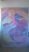 tableau animaux oiseau rose violet : l'oiseau rose