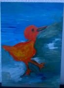 tableau animaux oiseau plage orange mer : l'oiseau qui regarde vers le ciel