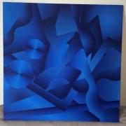 tableau abstrait abstrait bleu psychedelique geometrie : Bleu