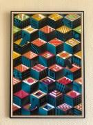 tableau abstrait psychedelique geometrie cube couleurs : N°53