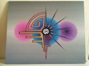 tableau abstrait abstrait geometrie symboles : Abstrait 3