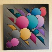 tableau abstrait abstrait bulles courbes couleurs : Clouds