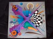 tableau abstrait abstrait geometrie intersection damier : Abstrait 4