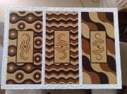 tableau abstrait triptyque abstrait symboles : Triptyque 4